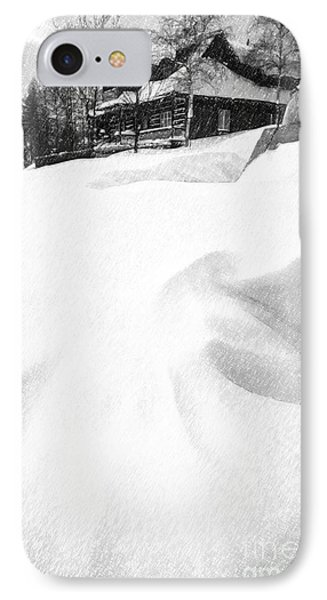 House In Snow IPhone Case by Rod McLean