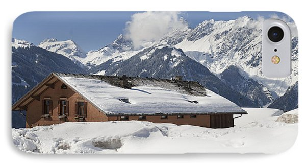 House In The Alps In Winter Phone Case by Matthias Hauser
