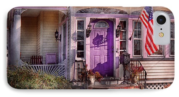 House - Porch - Cranford Nj - Lovely In Lavender  Phone Case by Mike Savad