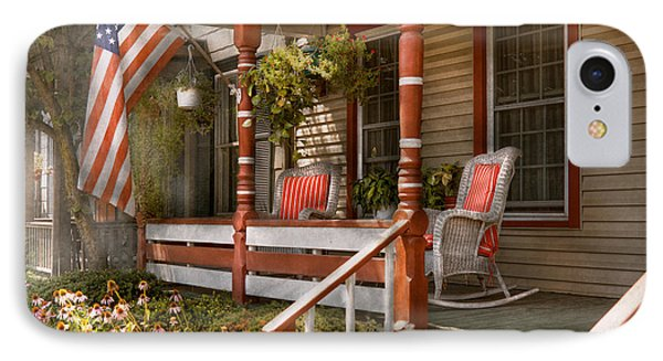 House - Porch - Traditional American Phone Case by Mike Savad