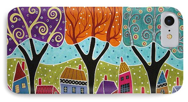 Houses Trees Folk Art Abstract  Phone Case by Karla Gerard
