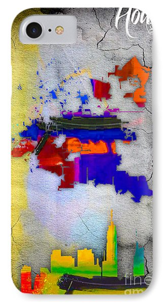 Houston Map And Skyline Watercolor IPhone Case by Marvin Blaine