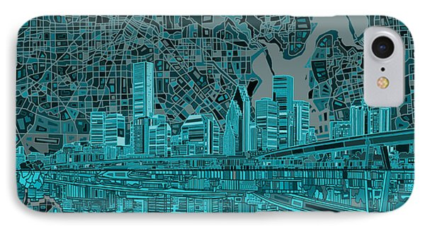 Houston Skyline Abstract 7 IPhone Case