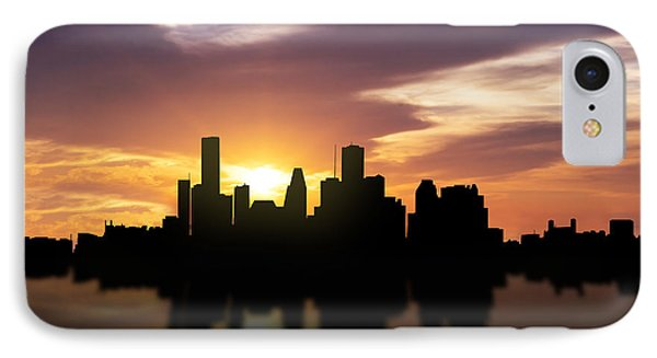 Houston Sunset Skyline  IPhone Case by Aged Pixel
