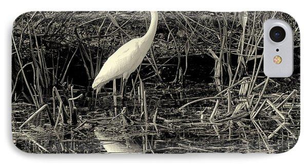 Houston Wildlife Great White Egret Black And White Phone Case by Joshua House