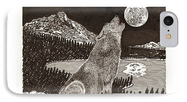 Howling Coyote Full Moon Ho0wling Phone Case by Jack Pumphrey