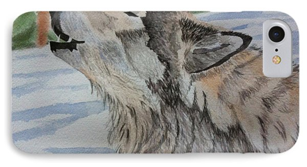 Howling Wolf In Winter IPhone Case by Brenda Brown