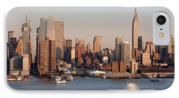 Hudson River And Manhattan Skyline I Phone Case by Clarence Holmes