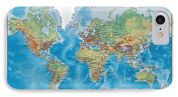 Huge Hi Res Mercator Projection Physical And Political Relief World Map IPhone Case