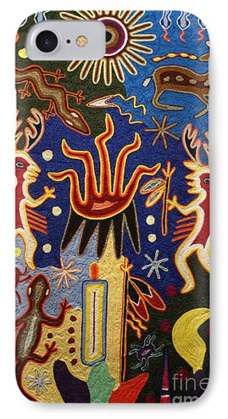 Huichol Yarn Painting Mexico IPhone Case by John  Mitchell