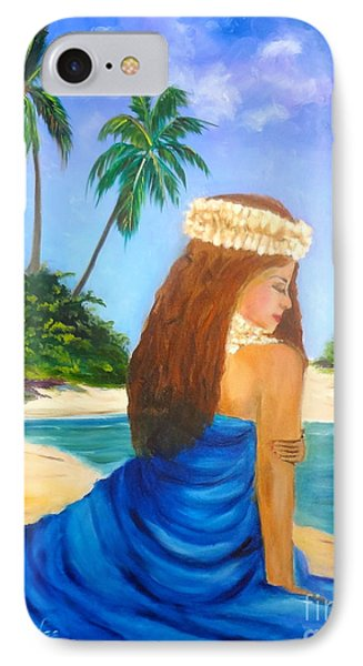 IPhone Case featuring the painting Hula Girl On The Beach by Jenny Lee