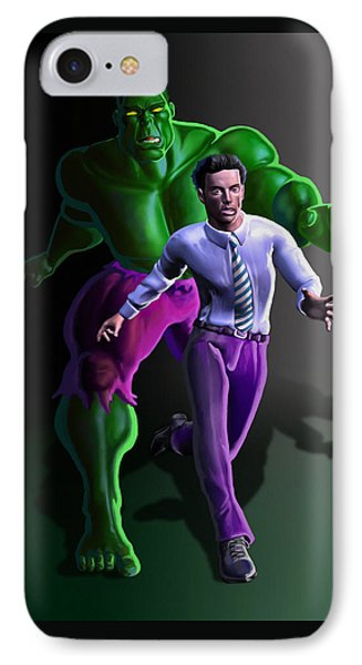 IPhone Case featuring the painting Hulk - Bruce Alter Ego by Anthony Mwangi