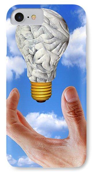 Human Brain In Shape Of Lightbulb IPhone Case by Victor De Schwanberg