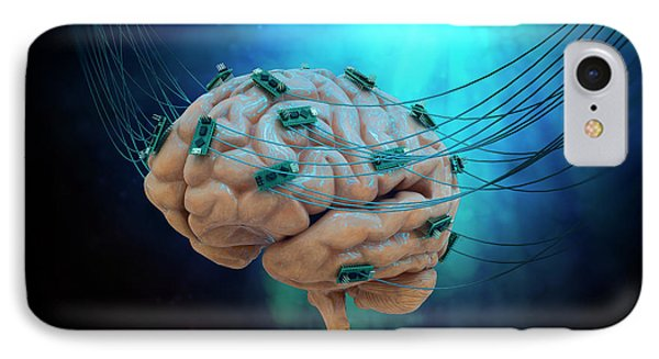Human Brain With Cables And Microchips IPhone Case