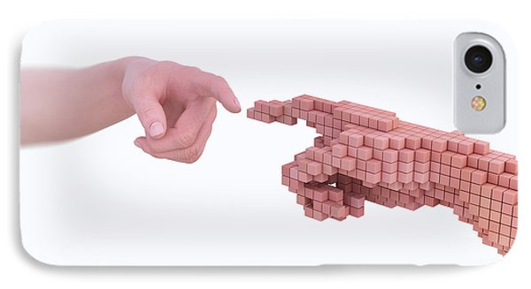 Human Hand Made From Voxels IPhone Case