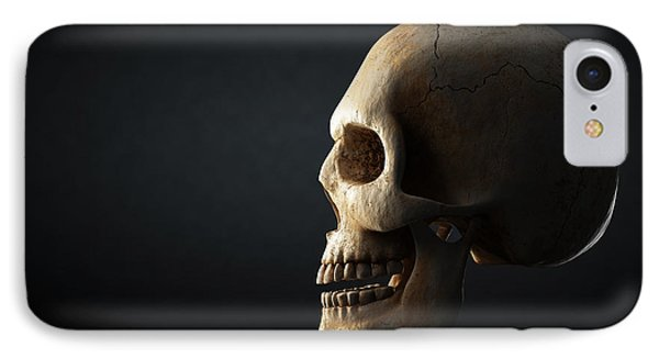 Human Skull Profile On Dark Background IPhone Case by Johan Swanepoel