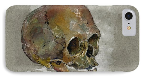 Human Skull Study IPhone Case by Juan  Bosco