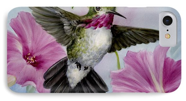 Hummer In Petunias IPhone Case by Summer Celeste