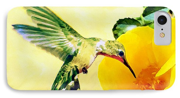 Hummingbird And California Poppy IPhone Case by Bob and Nadine Johnston
