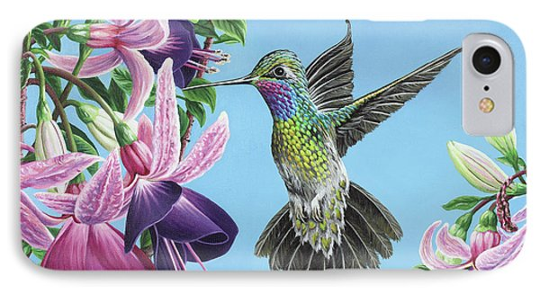 IPhone Case featuring the painting Hummingbird And Fuchsias by Jane Girardot