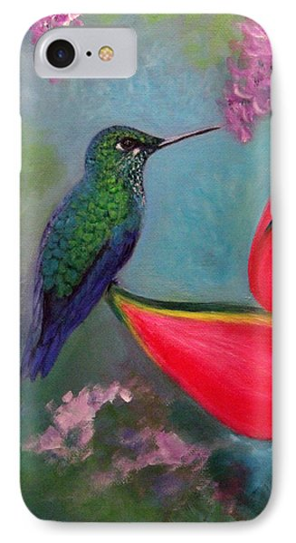 IPhone Case featuring the painting Hummingbird And Heliconia by Janet Greer Sammons