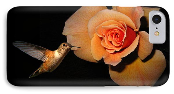 Hummingbird And Orange Rose IPhone Case by Joyce Dickens