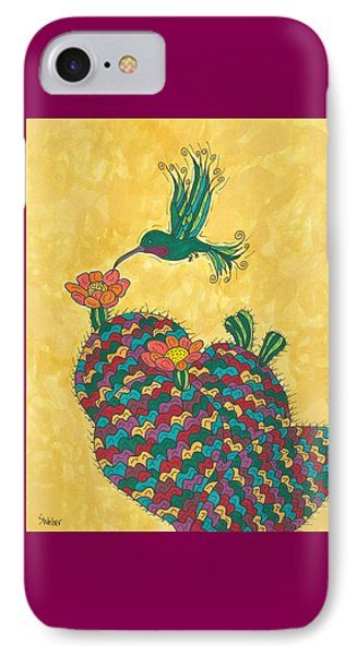 Hummingbird And Prickly Pear IPhone Case by Susie Weber