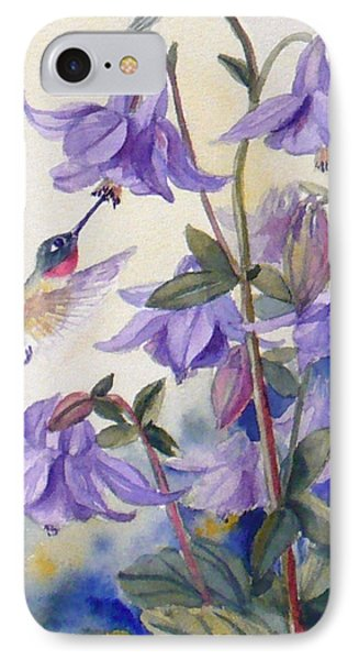 Hummingbird And Purple Columbine IPhone Case by Janet  Zeh