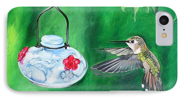Hummingbird And The Feeder IPhone Case by Shelley Overton