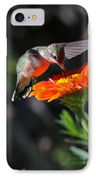 IPhone Case featuring the photograph Hummingbird And Zinnia by Steve Augustin