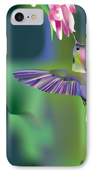 IPhone Case featuring the digital art Hummingbird by Arline Wagner