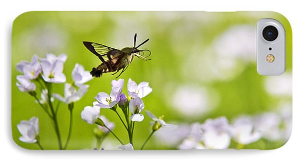 Hummingbird Clearwing Moth Flying Away Phone Case by Christina Rollo