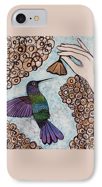IPhone Case featuring the painting Hummingbird Golden Flower by Jasna Gopic
