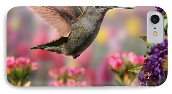 Hummingbird In Colorful Garden IPhone Case by William Lee