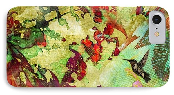 Hummingbird In Flower Heaven - Square IPhone Case
