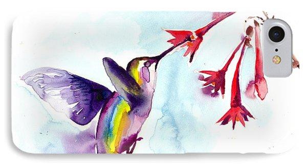 Hummingbird In Red Flowers Watercolor IPhone Case by Tiberiu Soos