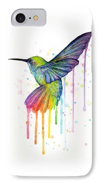Hummingbird Of Watercolor Rainbow IPhone 7 Case by Olga Shvartsur
