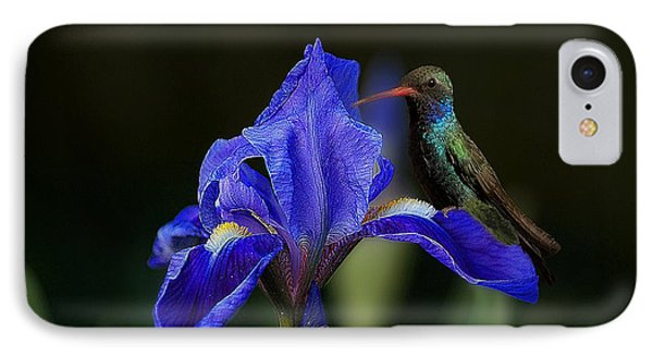 Hummingbird On A Mexican Blue Exotic Flower IPhone Case by John  Kolenberg