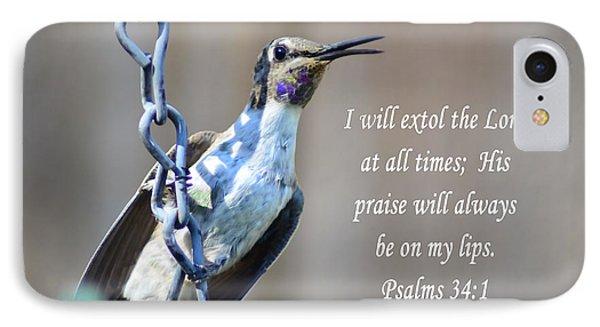 Hummingbird Scripture IPhone Case by Debby Pueschel