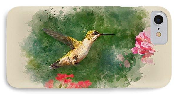 Hummingbird - Watercolor Art IPhone Case by Christina Rollo