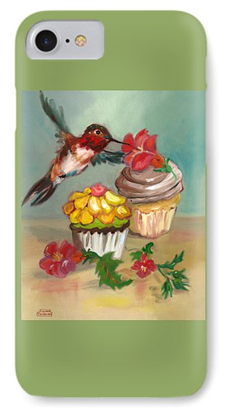IPhone Case featuring the painting hummingbird with 2 Cupcakes by Susan Thomas