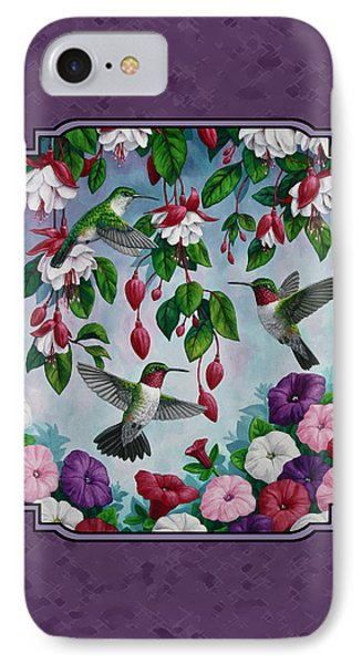 Hummingbirds And Flowers Duvet Cover IPhone Case by Crista Forest