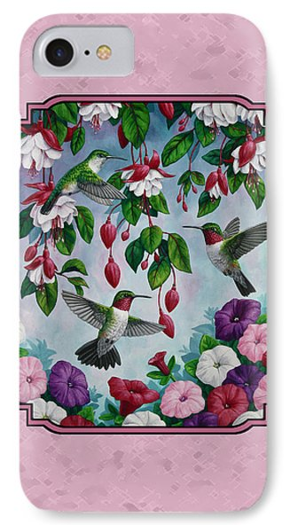 Hummingbirds And Flowers Pink Pillow And Duvet Cover IPhone Case by Crista Forest