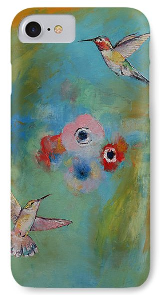 Hummingbirds IPhone Case by Michael Creese