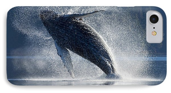 Humpback Whale Breaching In The Waters Phone Case by John Hyde