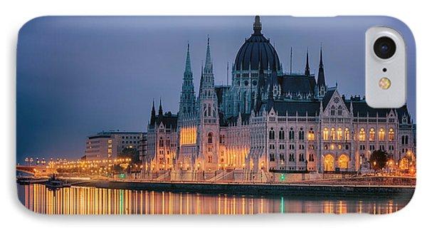 Hungarian Parliament Dawn Phone Case by Joan Carroll