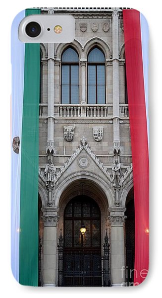 Hungary Flag Hanging At Parliament Budapest IPhone Case by Imran Ahmed