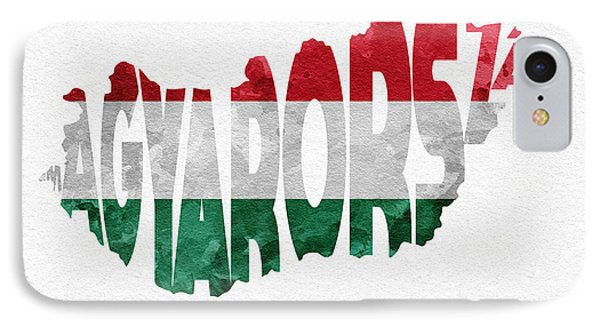 Hungary Typographic Map Flag IPhone Case by Ayse Deniz