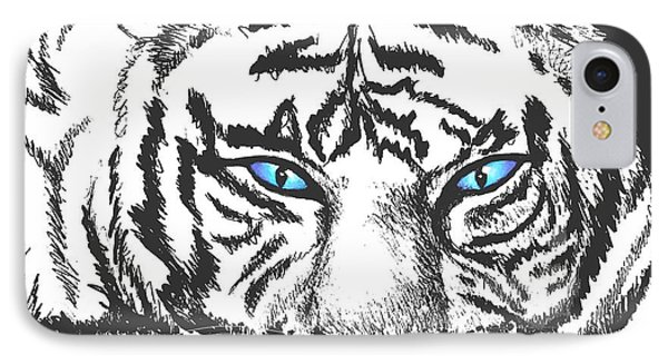 IPhone Case featuring the drawing Hungry Eyes by Sophia Schmierer