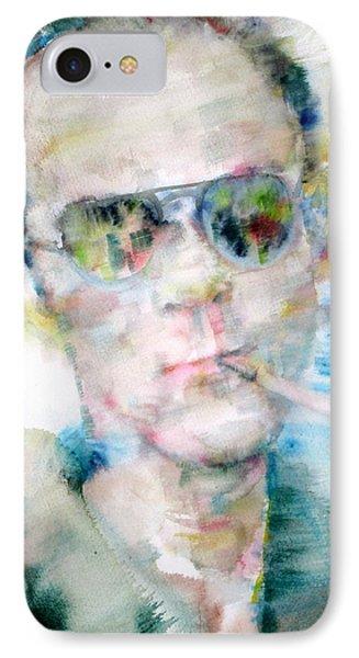 Hunter S. Thompson - Watercolor Portrait IPhone Case by Fabrizio Cassetta